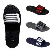 Wholesale Footwear Men's Massage Slides Striped Velcro Assorted Colors