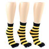 Wholesale Footwear 24 Pairs Pack of WSD Women's Toe Socks, Value Pack, Casual Socks (Black & Gold Striped Print, 9-11)