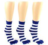 Wholesale Footwear 24 Pairs Pack of WSD Women's Toe Socks, Value Pack, Casual Socks (Blue & White Striped Print, 9-11)
