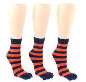 Wholesale Footwear 24 Pairs Pack of WSD Women's Toe Socks, Value Pack, Casual Socks (Blue & Orange Striped Print, 9-11)