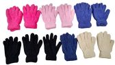 Wholesale Footwear 12 Pair Pack Of excell Kids Warm Winter Colorful Magic Stretch Gloves And Mittens (Solid Soft Fuzzy)