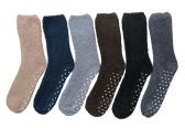 Wholesale Footwear 6 Pairs Of excell Mens Soft Warm Fuzzy Socks (Gripper Bottom)