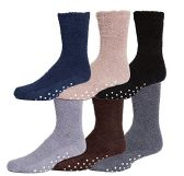 Wholesale Footwear Mens Gripper Bottom Warm And Comfortable Fuzzy Socks, 6 Pack By excell