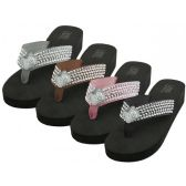 Wholesale Footwear Women's Rhinestone Thong Sandals ( *Asst Black Silver Brown & Pink )