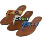 Wholesale Footwear Women's Beaded Patterns Flip Flops ( *Asst. Black Coral & denim )