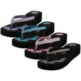 Wholesale Footwear Women's Floral Printed Wedge Rhinestone Look Flip Flops