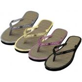 Wholesale Footwear Women's Glitter Straw Insole Flip Flops ( *Asst. Gold Silver Black & Rose Gold )