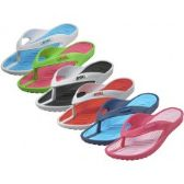 Wholesale Footwear Women's Sport 2 Tone Colors Soft Comfort Rubber Thong Sandals