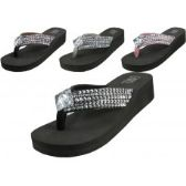 Wholesale Footwear Women's Wedge Rhinestone Thong Sandals ( *asst Black Silver Brown & Pink )