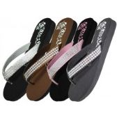 Wholesale Footwear Women's Flower Print With Rhinestone Look Flip Flops