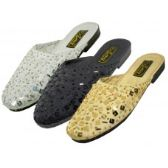 Wholesale Footwear Women's Sequin Sandal Assorted Black Gold And Silver