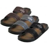 Wholesale Footwear Men's 2 Strip Upper All Rubber Soft sandals