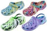 Wholesale Footwear Ladies Tie Dye Garden Shoes In White
