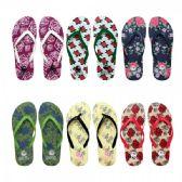 Wholesale Footwear Women's Flower Printed Flip Flops Assorted Colors