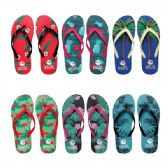 Wholesale Footwear Women's Printed Flip Flops Assorted Colors