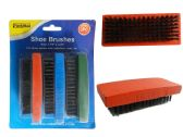 Wholesale Footwear 3pc Shoe Shine Brushes Blue, Red, Green Asst