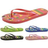 Wholesale Footwear Women's Flower Printed Flip Flops
