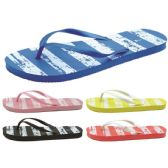 Wholesale Footwear Women's Striped Printed Flip Flops