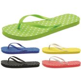 Wholesale Footwear Women's Polka Dot Printed Flip Flops