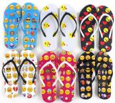 Wholesale Footwear Women's Flip Flops - Emoji Prints