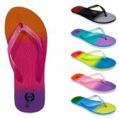 Wholesale Footwear Women's Flip Flops wieth/ Dual Layer Heel & Sparkle Straps - Rainbow Print