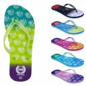 Wholesale Footwear Women's Flip Flops With/ Dual Layer Heel & Sparkle Straps - Apple Print