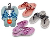 Wholesale Footwear Women's T-Strap Sandals with/ Matallic Straps - Assorted Colors