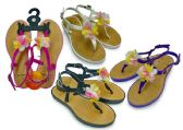 Wholesale Footwear Girl's Sandals with/ Side Strap & Flower Adornment - Assorted Colors