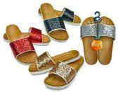 Wholesale Footwear Women's Slide Sandals with/ Metallic Straps - Assorted Colors