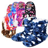 Wholesale Footwear Fuzzy Slipper boots Hearts Assorted Colors