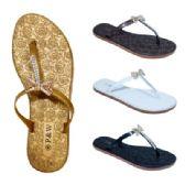 Wholesale Footwear Ladies Rhinestone Bow Flip Flops