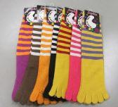 Wholesale Footwear Womens Striped Toe Socks