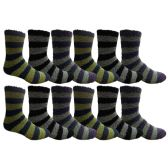Wholesale Footwear 12 Pair Of excell Mens Striped Winter Warm Fuzzy Socks, Sock Size 10-13 #1468