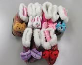 Wholesale Footwear Girls Animal Slipper Boots With Fur Cuff