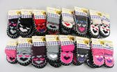 Wholesale Footwear Girls Heart Printed Slipper Socks With Rubber Sole