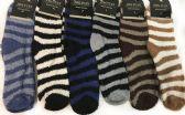 Wholesale Footwear Men's Striped Fuzzy Socks