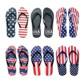 Wholesale Footwear Women's USA Patriotic Blue White Red Theme Flip Flop