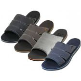 Wholesale Footwear Men's Soft Insole Slide Sandals ( *Asst. Black, Navy Gray And Brown )