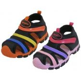 Wholesale Footwear Children's Rainbow Strip Upper Velcro Sandals