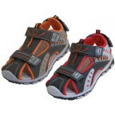 Wholesale Footwear Children's Pu. Leather Upper Multi Velcro Sandals