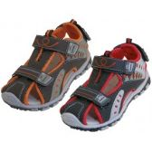 Wholesale Footwear Boy's Pu. Leather Upper Multi Color Velcro Sandals