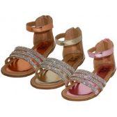 Wholesale Footwear Girl's Rhinestone Upper With Ankle Strip Sandals