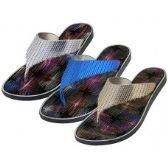 Wholesale Footwear Women's Metallic Upper Rubber Thong Flip Flops