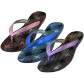 Wholesale Footwear Women's Metallic Sparkle Upper Rubber Thong Flip Flops