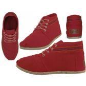 Wholesale Footwear Women's Hi-Top Canvas Shoes ( *Red Color )