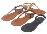 Wholesale Footwear Ladies Sandals In Black Bronze Gold Pewter
