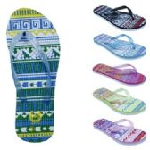 Wholesale Footwear Womens Ombre Tribal Flip Flop