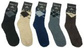 Wholesale Footwear Mens Argyle Color Fuzzy Socks