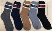 Wholesale Footwear Mens USA Solid Color Fuzzy Socks
