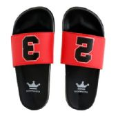 Wholesale Footwear Mens Black Red Slide